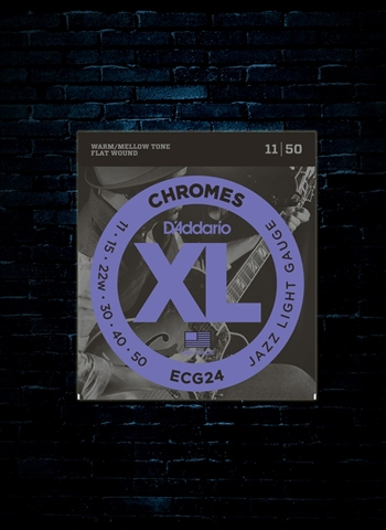 D'Addario ECG24 XL Chromes Flat Wound Electric Strings - Jazz Light (11-50)