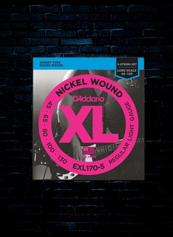 D'Addario EXL170-5 XL Nickel Wound Bass Strings - 5-String Light (45-130)