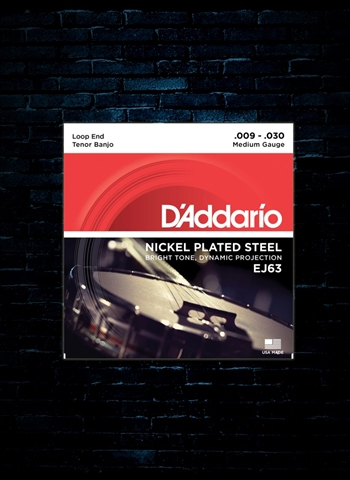 D'Addario EJ63 Nickel Plated Steel Tenor Banjo Strings - Medium (9-30)