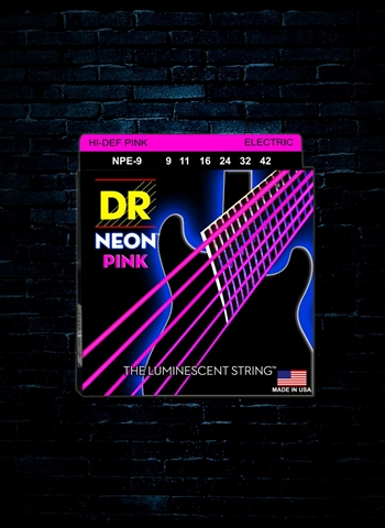 DR NPE-9 K3 NEON Pink Electric Strings - Light (09-42)