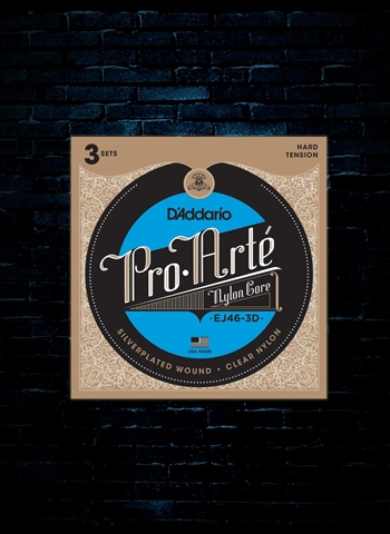 D'Addario EJ46 Pro-Arte Nylon Core Classical Strings (3-Pack) - Hard (29-44)