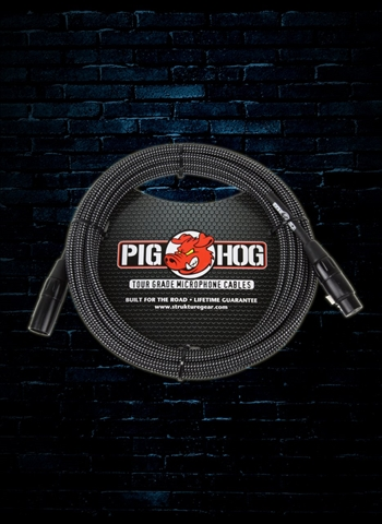 Pig Hog PHM20BKW - 20' Vintage Series Woven XLR Microphone Cable - Black