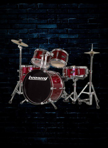 Ludwig LJR106 Junior Series 5-Piece Drum Set - Wine Red