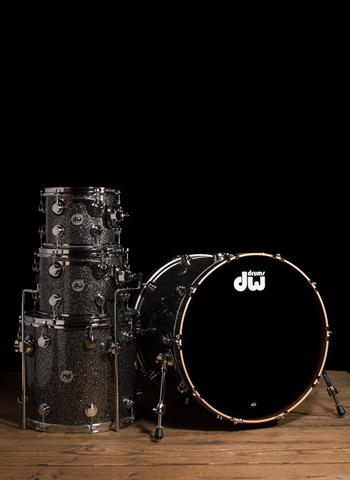 Drum Workshop Collector's Series 4-Piece Maple/Mahogany Drum Set - Black Galaxy Finish Ply