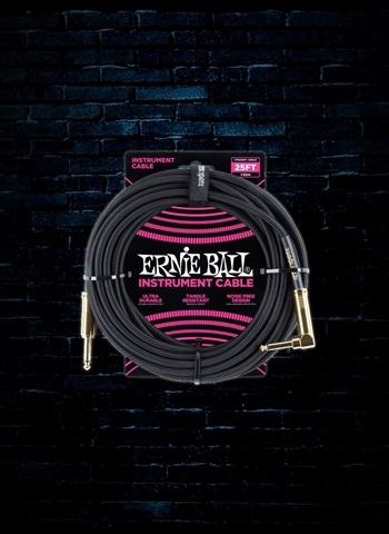 Ernie Ball 25' Braided Straight to Angle Instrument Cable - Black