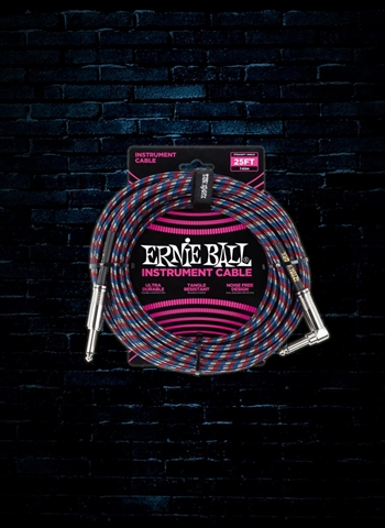 Ernie Ball 25' Braided Straight to Angle Instrument Cable - Black/Red/Blue/White