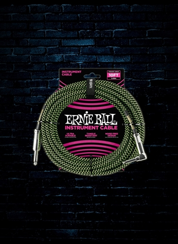 Ernie Ball 10' Braided Straight to Angle Instrument Cable - Black/Green