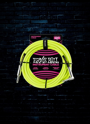 Ernie Ball 10' Braided Straight to Angle Instrument Cable - Neon Yellow
