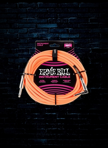 Ernie Ball 18' Braided Straight to Angle Instrument Cable - Neon Orange