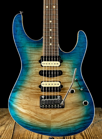 Suhr Modern Custom Quilt Maple/Swamp Ash - Blue Burst