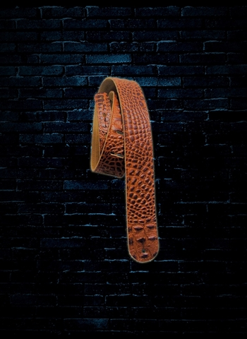 "LM Products 2"" Double Standard Croco-Leather Guitar Strap - Brown"
