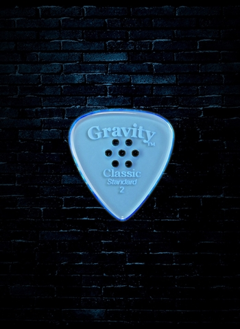 Gravity 2mm Classic Shape Standard Multi-Hole Guitar Pick - Blue