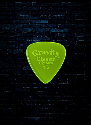 Gravity 1.5mm Classic Shape Big Mini Guitar Pick - Fluorescent Green