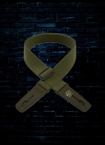 "Lock-It LIS 050 C2-OLV/BRN 2"" Cotton Series Guitar Strap - Olive"