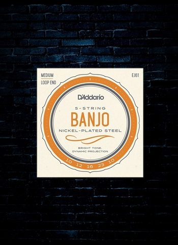 D'Addario EJ61 Nickel Plated Steel Banjo Strings - Medium (10-23)