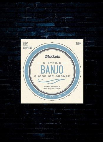 D'Addario EJ69 Phosphor Bronze Banjo Strings - Light (9-20)